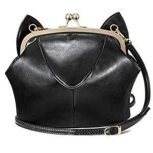 Faux Leather cat ear purse clutch shoulder bag